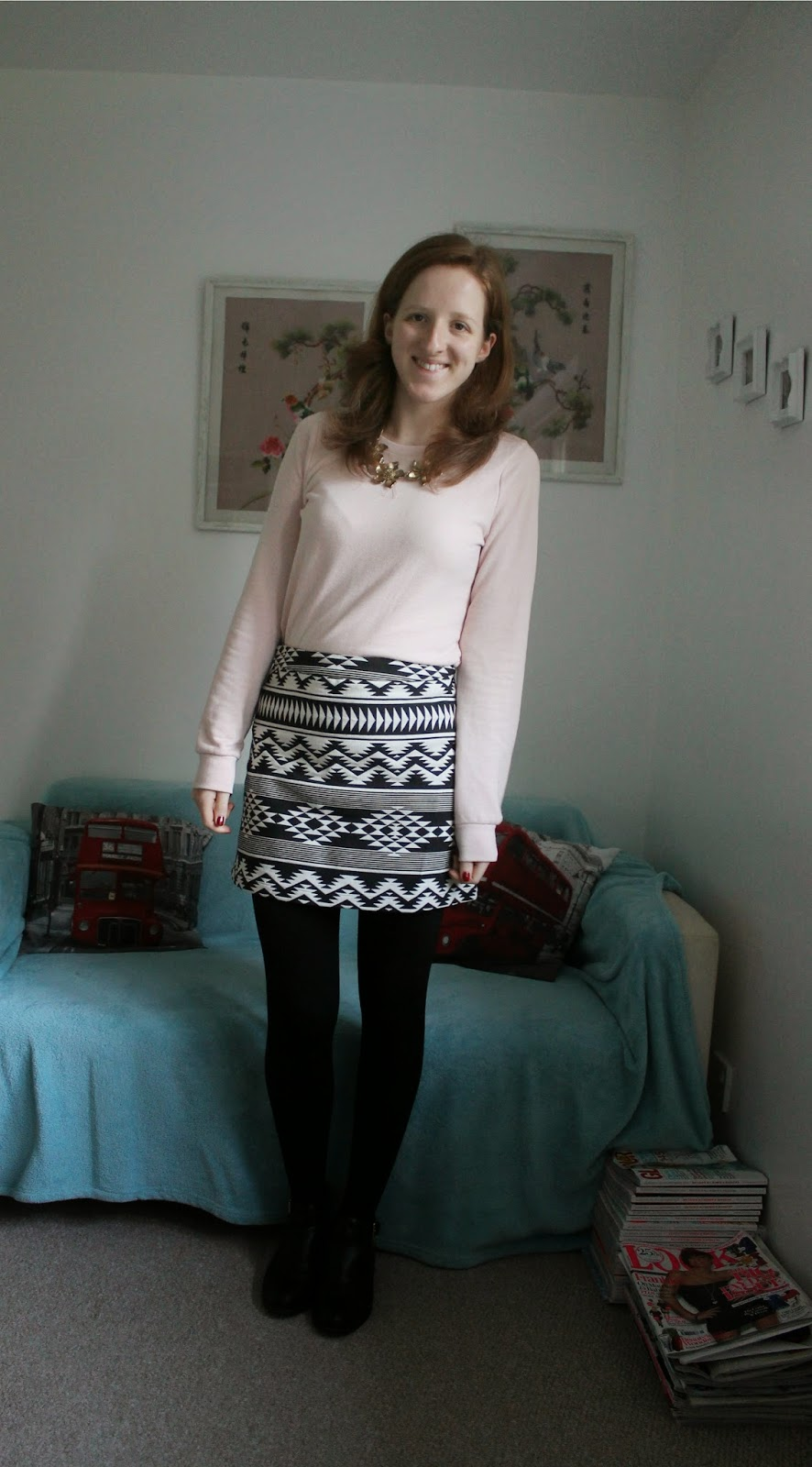 OOTD Pink Sweatshirt, Aztec Shirt and Leopard Parker Coat