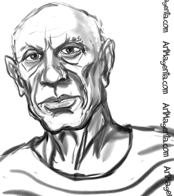 Pablo Picasso caricature cartoon. Portrait drawing by caricaturist Artmagenta.