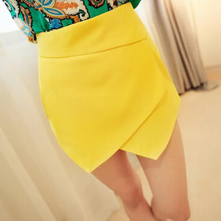 bright, yellow, skort, wrap skort, bright skort