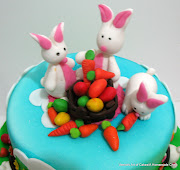 Easter Cake with Gumpaste Bunnies and Easter Eggs2013 bunny cake
