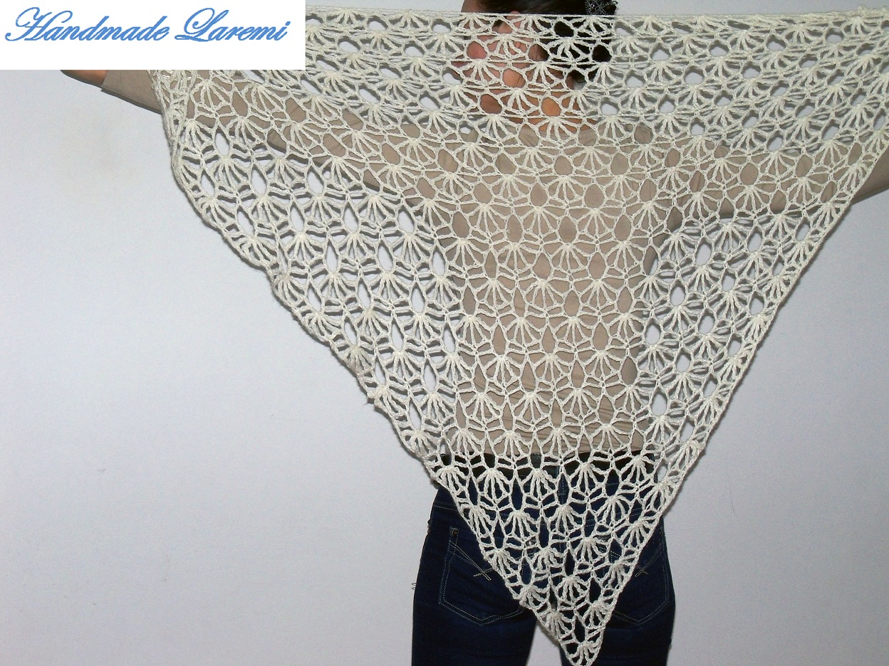 Crocheting By Hand : ... : Hand crochet white shawl / Hand Crochet Shawl/ Hand crochet Scarf