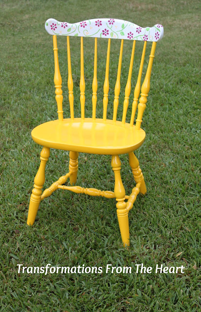 hand painted flower yellow chair