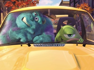 Sulley and Mike driving a car in Monsters, Inc. animatedfilmreviews.filminspector.com