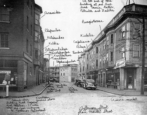 early lowell city street with hand written notes