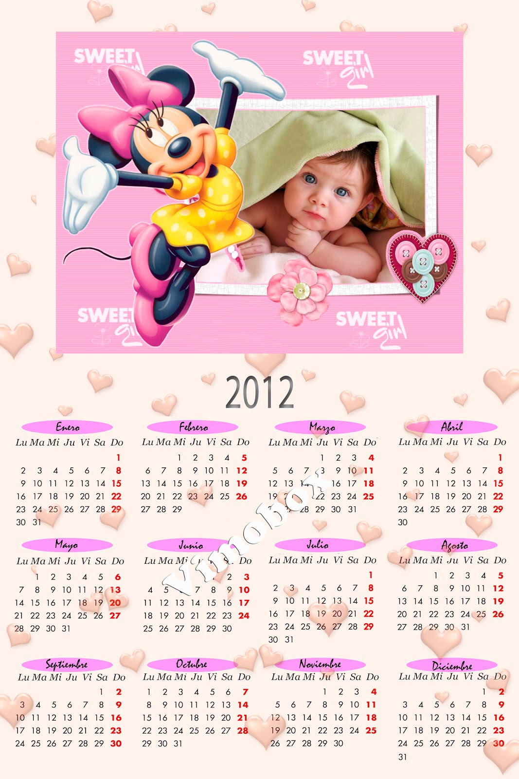 Marcos para Fotos Gratis.: Hermosos Calendarios 2012 de Minnie, Mickey ...