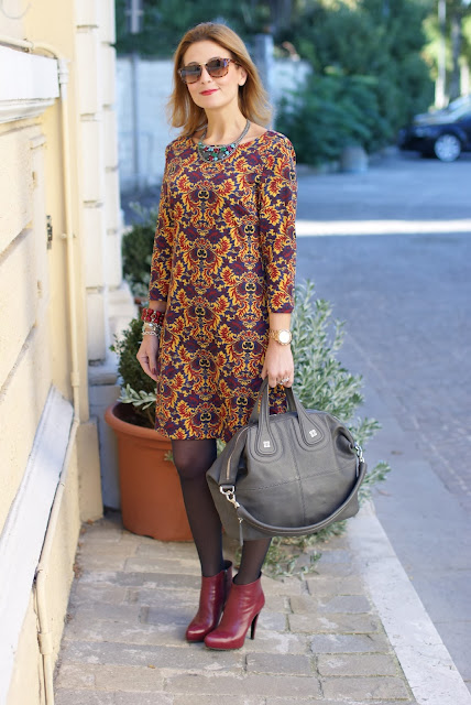 baroque print dress, burgundy ankle boots, Givenchy Nightingale bag, Fashion and Cookies, fashion blogger