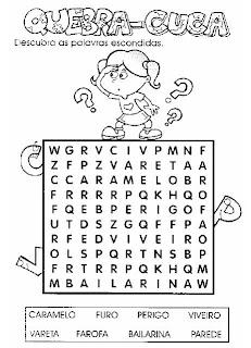 Caça-Palavras 3. Atividades para alfabetização.