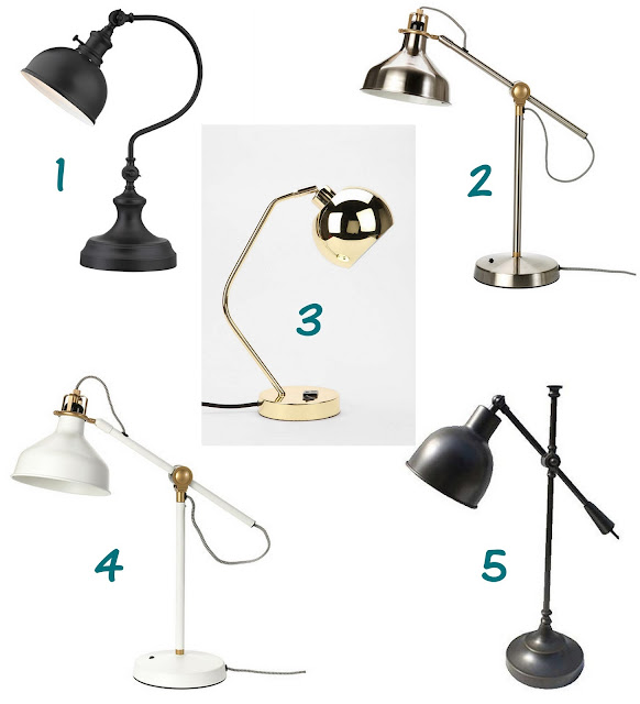 the friday five, friday, friyay, desk lamp, ikea, better homes and gardens, black desk lamp, white desk lamp, bronze desk lamp, gold desk lamp