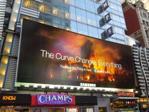 Samsung Curved TV Godzilla billboard NYC