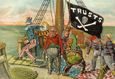 Vintage political cartoon with trusts as pirates making Uncle Sam walk the plank
