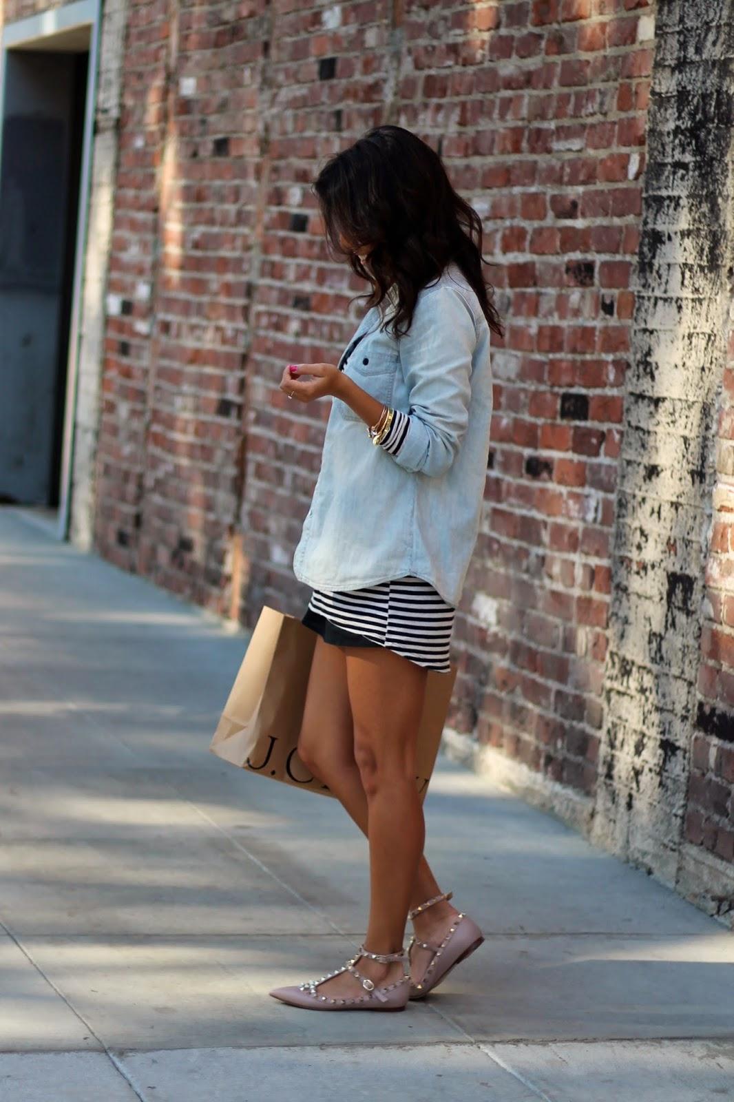 chambray shirt striped dress