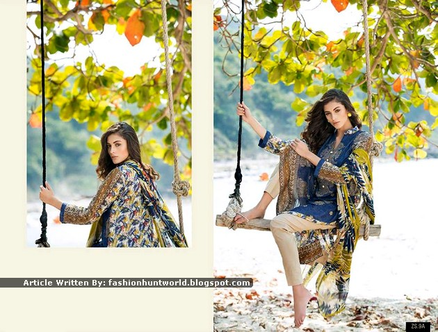 Green And Blue Printed Lawn Attires