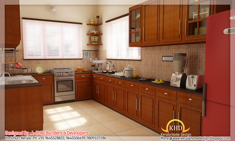 3d interior renders kerala home design and floor plans for Kitchen designs kerala