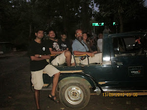 In the jeep for the first early morning jungle safari