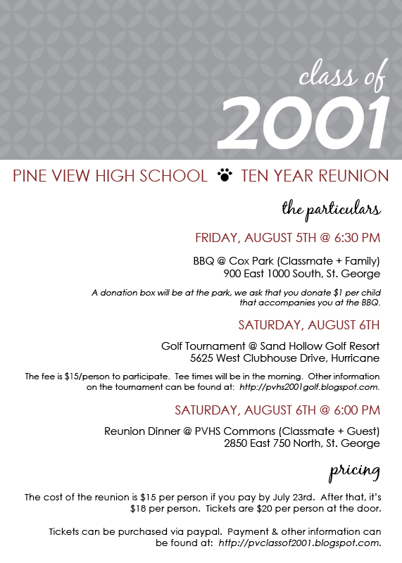 PINE VIEW CLASS OF 2001: Reunion Invite
