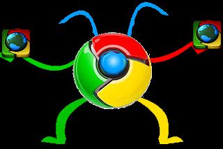 المتصفح google chrome على شكل متصفحين