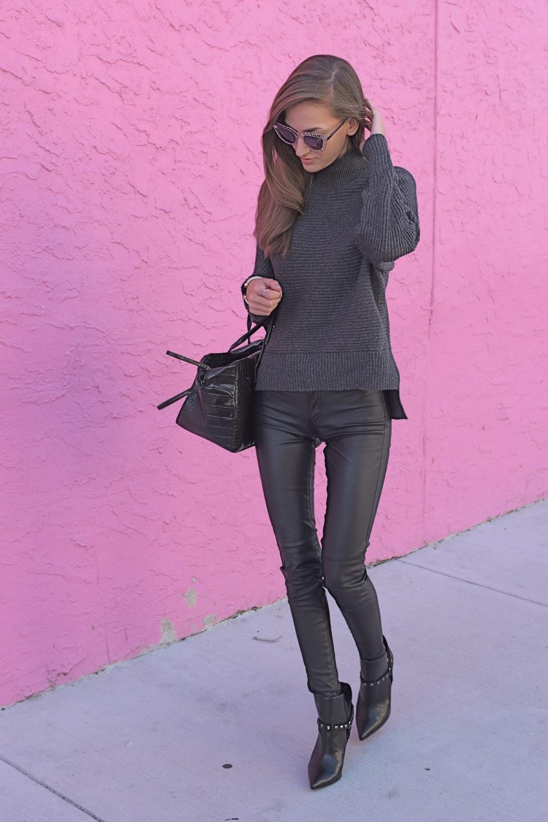 Loft Grey Knit oversized sweater, Case App Custom made phone case, Blank Denim Vegan Leather pants