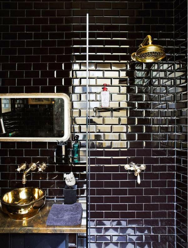 Griferia Para Baño Dorada:cierto me encanta la grifería dorada en baños alicatados negros