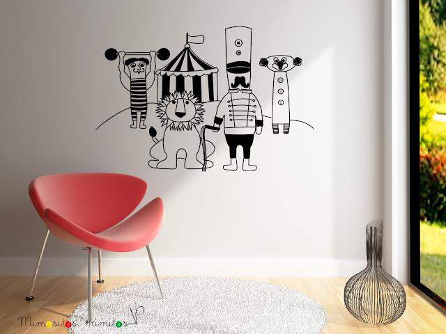 vinilos, decoración, interiorismo, interiores, diseño, ilustración, pared, vinyl, circo, circus, carnival, león, domador, payaso, forzudo, para decorar, ideas