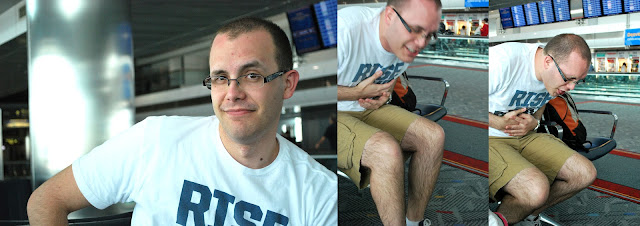 Three photos of Shane at the Denver Airport: a photo of him posing for the camera, and two photos of him pretending to throw up.