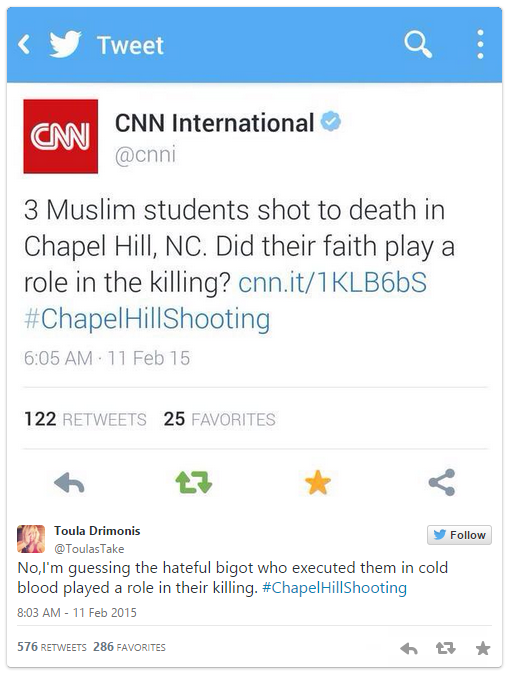 "Tweet from @cnni (CNN International): ""3 Muslim students shot to death in Chapel Hill, NC. Did their faith play a role in the killing? cnn.it/1KLB6bS #ChapelHillShooting; Reply from @ToulasTake (Toula Drimonis) ""No, I'm guessing the hateful bigot who executed them in cold blood played a role in their killing. #ChapelHillShooting"""