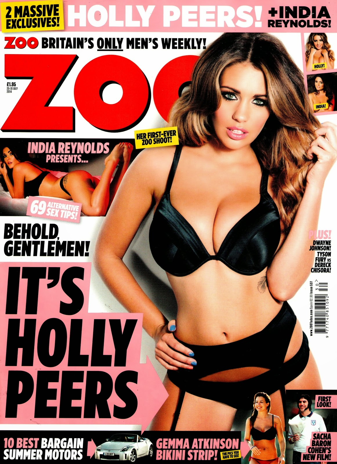 Holly Peers sexy lingerie cover girl in in Zoo magazine
