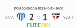 O placar de Avaí 2x1 São Paulo pela 27ª rodada do Brasileirão 2015