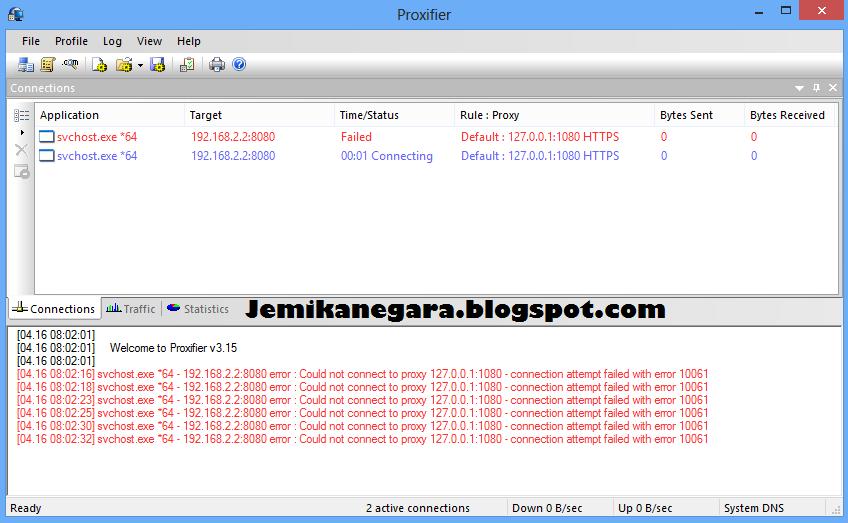 screenshot of proxifier 3.15