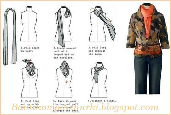 как завязать легкие шарфики и платки