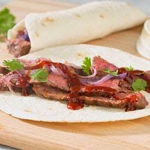 Weekend Cookout Menu : Barbecued Steak Wrap-Ups, BBQ Baked Beans, & Wild Maine Blueberry Cobbler