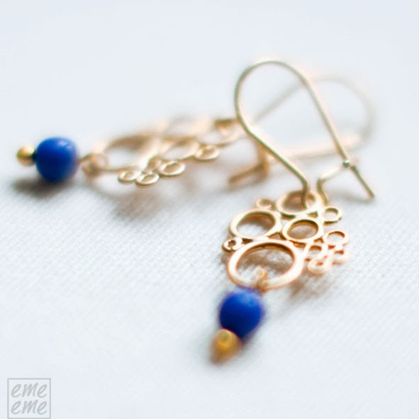 Filligree earrings with blue glass bead