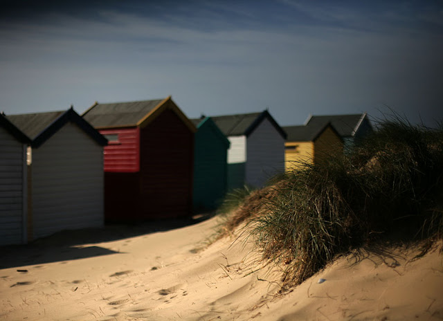 beach hut in sand dunes. Photograph by Tim Irving