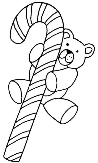 Christmas candy cane with teddy bear hanging coloring page photo for ...
