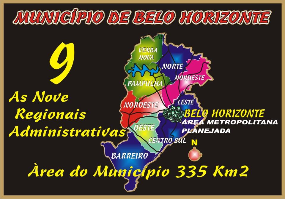 As Nove Regiões Administrativas de Belo Horizonte