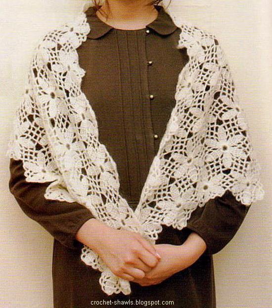 Crochet Floral Shawl Pattern : Crochet Shawls: Shawl Wrap - Crochet flower Motif