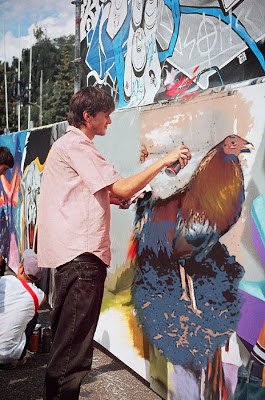 Grafiti de un gallo