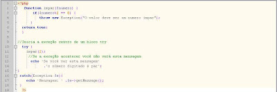 Exemplo de utilização de exceção em php