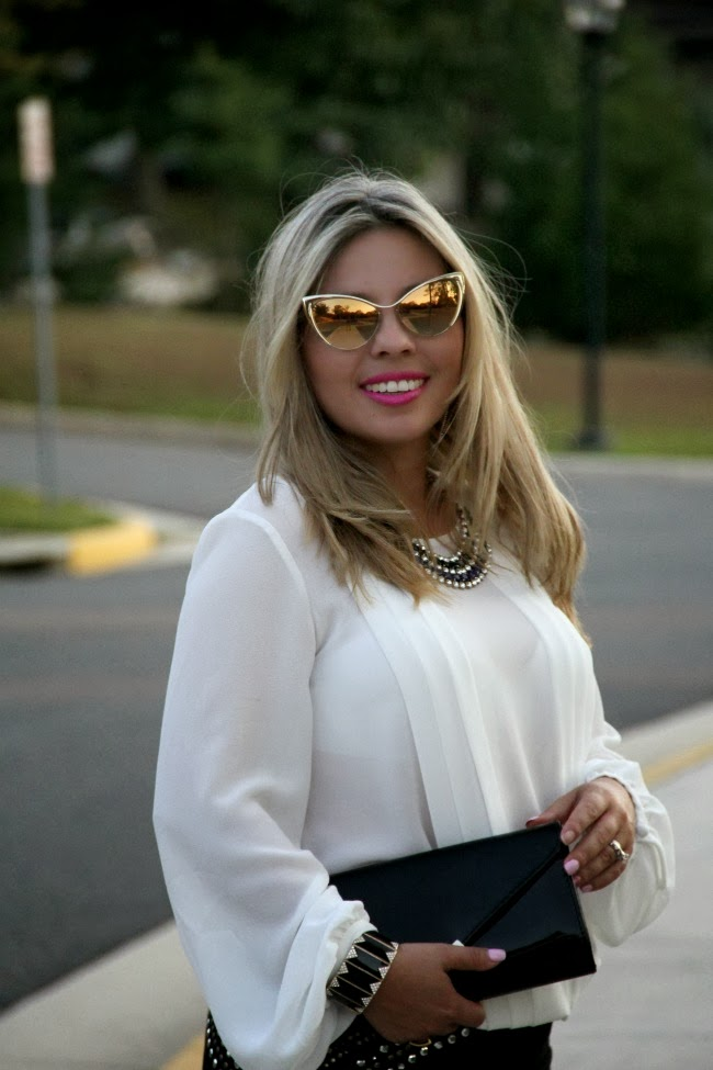 Pleated White Blouse, Nastasya Sunglasses - Tom Ford, Gallington Black Clutch - Aldo, Accessories - TJ Maxx