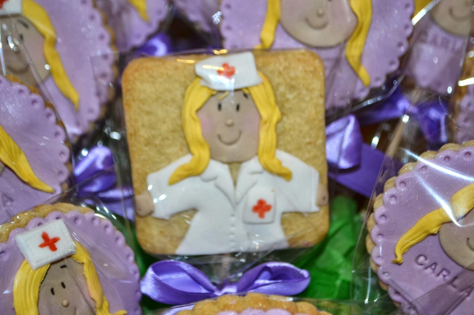 fondant enfermera violeta cumpleaños 18 lazos raso empaquetadas individualmente figura enfermera en 2d