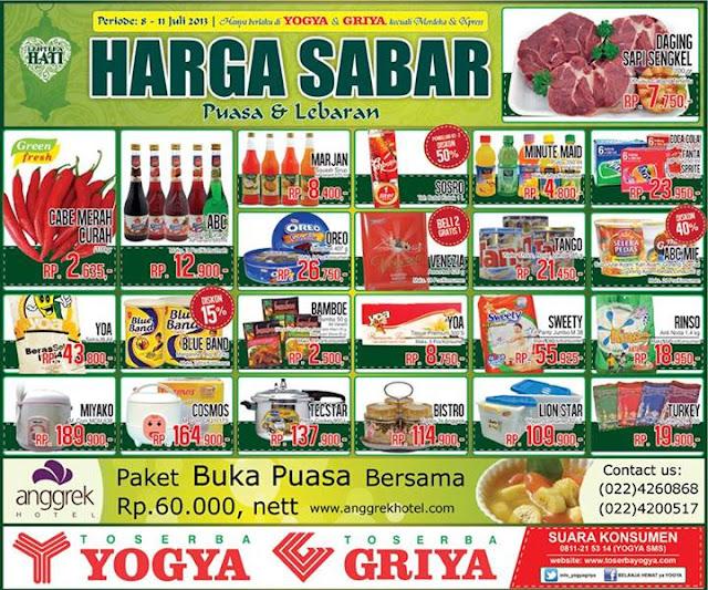 Toserba Yogya Weekday Promo (Harga Sabar) Terbaru Periode 8 – 11 Juli 2013