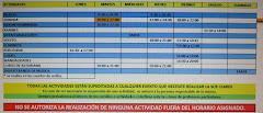 HORARIO DE ACTIVIDADES EN LA SOCIEDAD CLARÍN