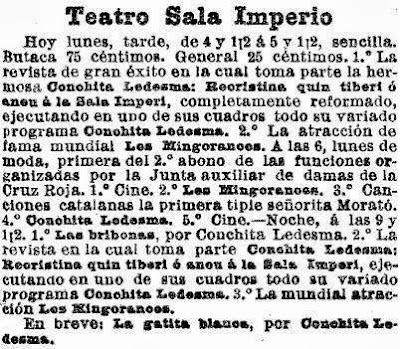 Recortes de prensa de La Vanguardia sobre la Sala Imperio, en diferentes épocas (2)