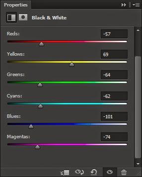 Photoshop, Black and White, Slider, panel, adjustment layer