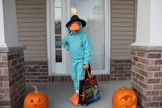 boy dressed up as a plattapus