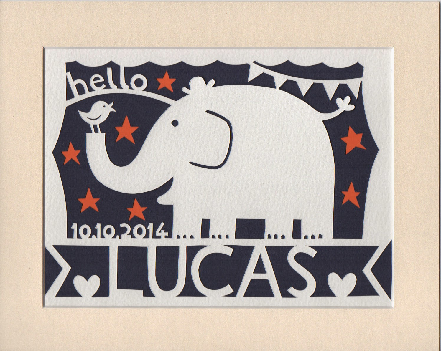 papercut picture of an elephant for the nursery