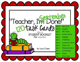 """Teacher, I'm Done""  Task Cards"