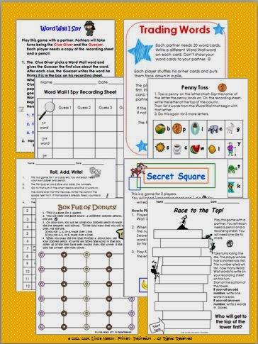 http://www.teacherspayteachers.com/Product/Word-Wall-Partner-Activities-150763