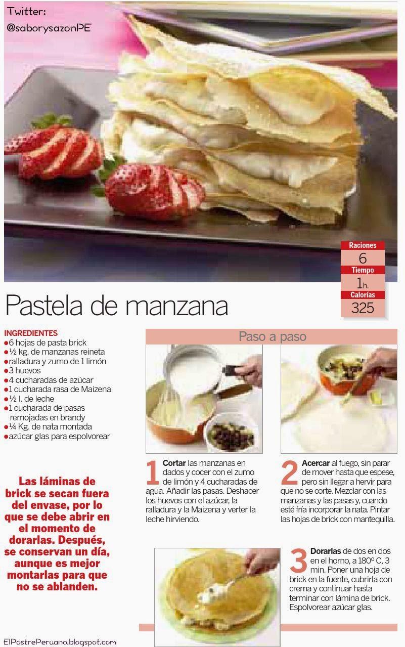 RECIPES - RECETAS SENCILLAS - PASTELA DE MANZANA
