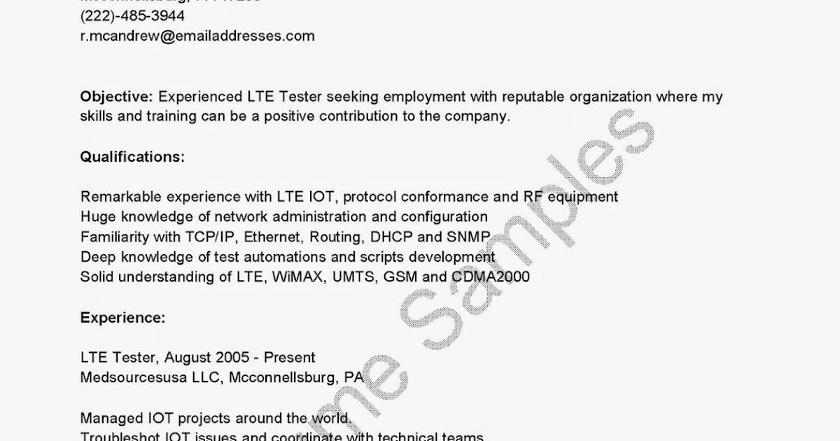 resume samples  lte tester resume sample