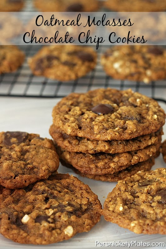 Oatmeal Molasses Chocolate Chip Cookies #fbcookieswap | Persnickety ...